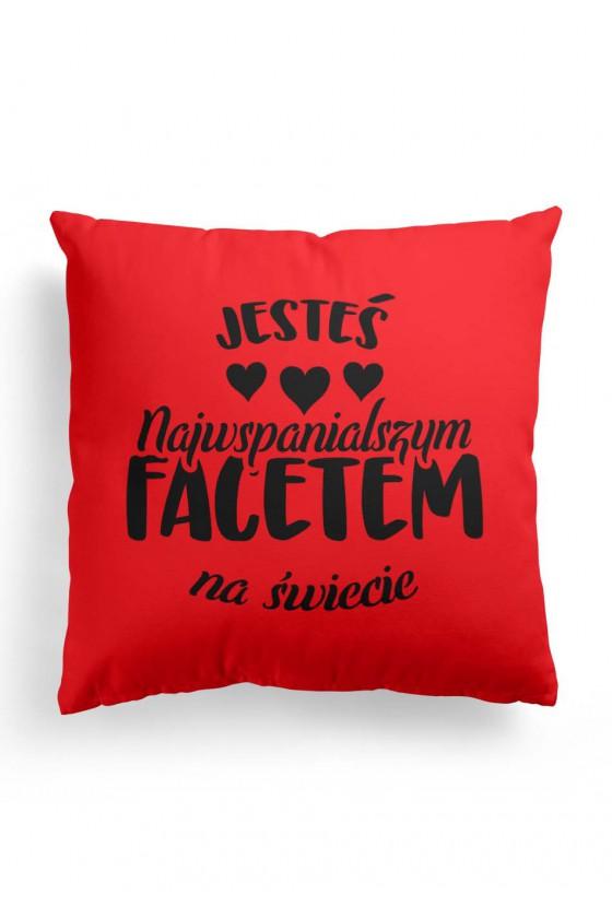 Poduszka Premium Czerwona dla najwspanialszego faceta na świecie
