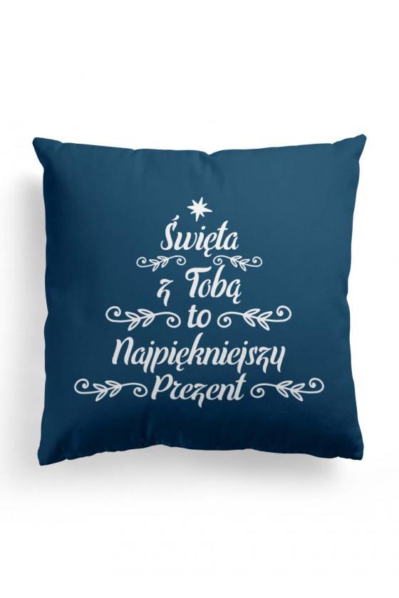Poduszka Premium Prezent Świąteczny Święta z Tobą to najpiękniejszy prezent (niebieska)