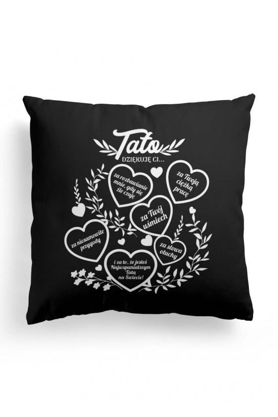 Poduszka Premium dla taty - Podziękowanie od dziecka - czarna
