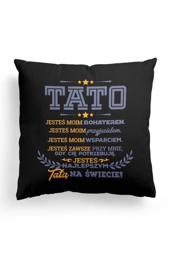 Poduszka Premium dla taty - Tato, jesteś najlepszy! (czarna)