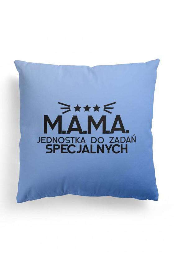 Poduszka Premium z dwustronnym nadrukiem dla Mamy - Mama jednostka specjalna kolor BABYBLUE