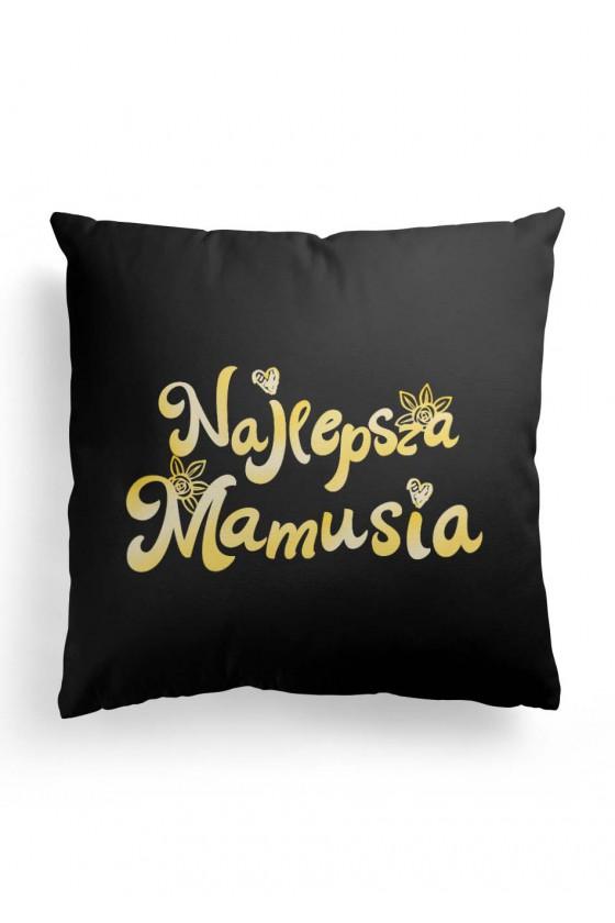 Poduszka Premium z napisem Najlepsza Mamusia - dla mamy - złoto-czarna