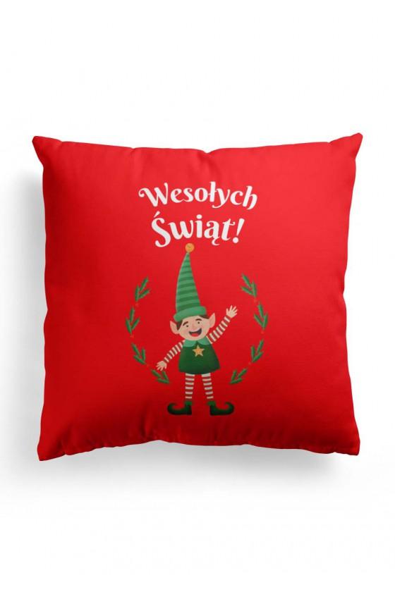 Poduszka Premium z napisem Wesołuch śwąt i słodkim elfem