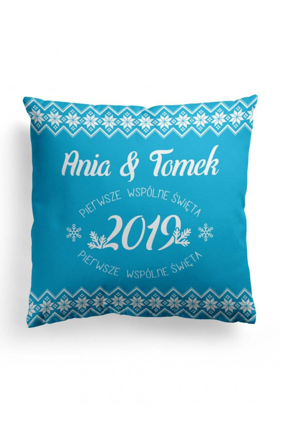 Poduszka Premium Pierwsze wspólne święta - Wasze Imiona/Rok (niebieska)