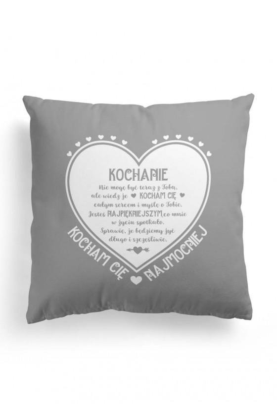 Poduszka Premium z pięknym napisem na Walentynki (szara)