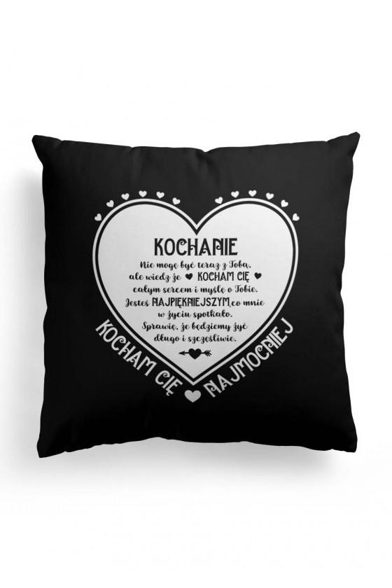Poduszka Premium z pięknym napisem na Walentynki (czarna)