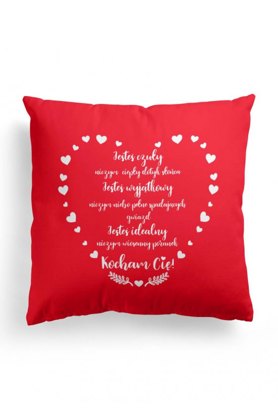 Poduszka Premium dla Niego na Walentynki z miłosnym wyznaniem 2 (czerwona)