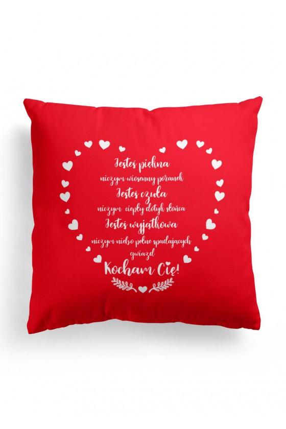 Poduszka Premium dla Niej na Walentynki z miłosnym wyznaniem 2 (czerwona)