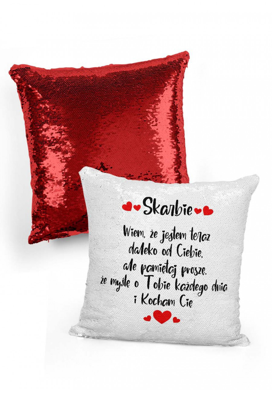 Poduszka cekinowa dla zakochanych których dzielą kilometry