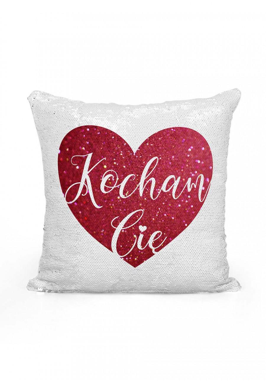 Poduszka cekinowa z napisem Kocham Cię