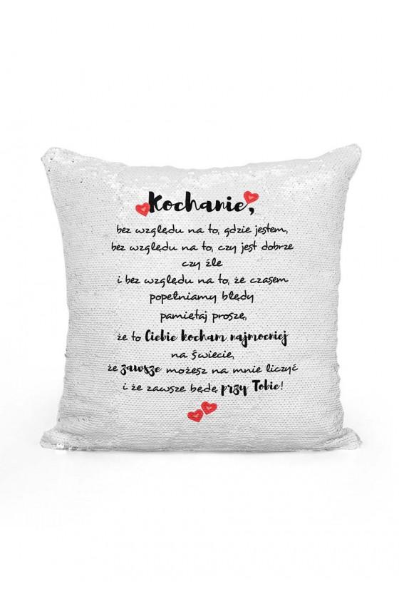 Poduszka cekinowa z miłosnym wyznaniem
