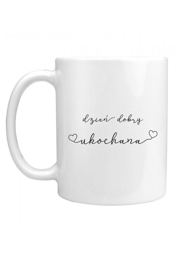 Kubek Z minimalistycznym napisem dzień dobry ukochana