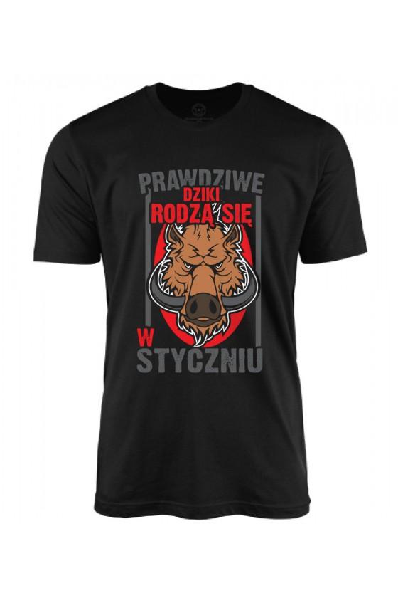 Koszulka męska Prawdziwe Dziki rodzą się w Styczniu 2