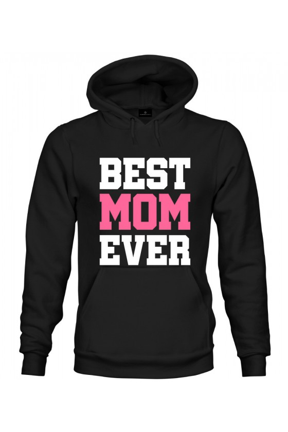 Bluza z kapturem Z napisem z napisem Best Mom Ever (róż)