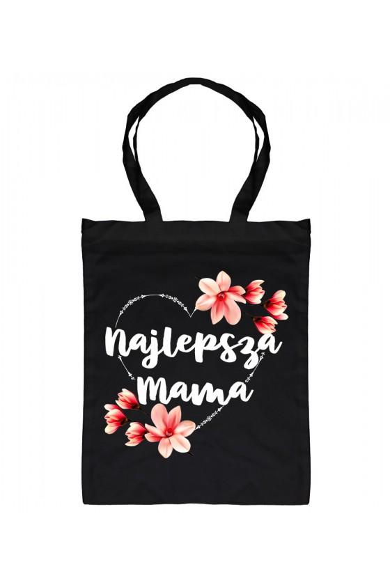 Torba bawełniana Z napisem Najlepsza Mama - Serce Kwiaty