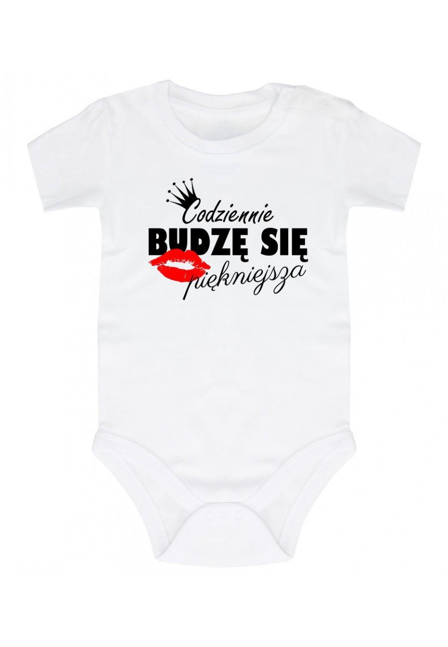 Body niemowlęce Z napisem codziennie budzę się piękniejsza