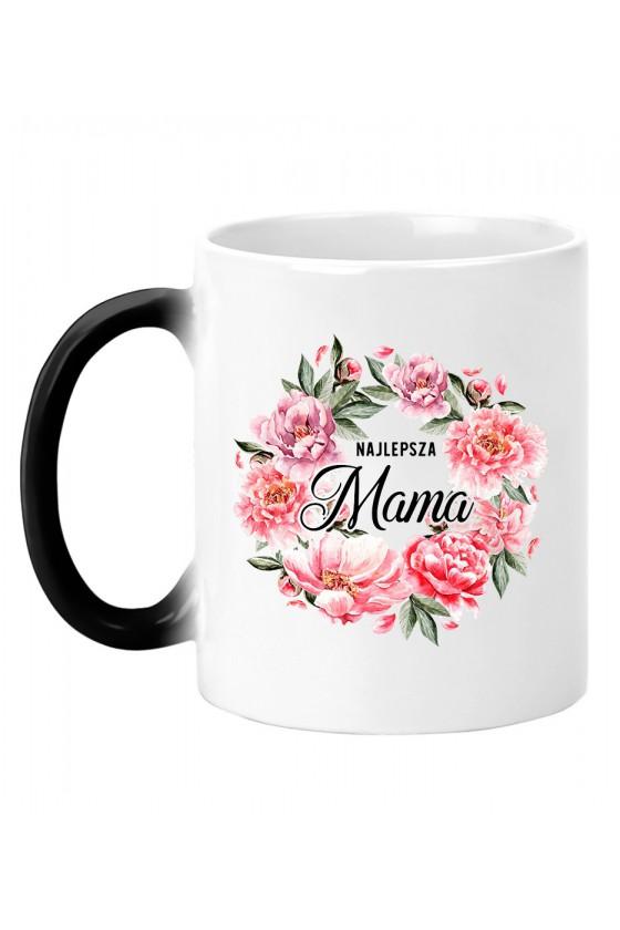 Kubek magiczny Najlepsza Mama bukiet kwiatów