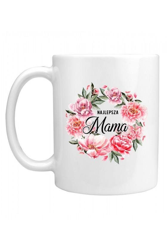 Kubek Najlepsza Mama bukiet kwiatów