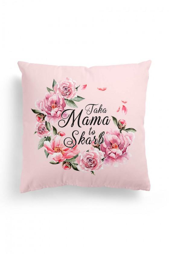 Poduszka Premium Taka Mama to Skarb Różowe Kwiaty