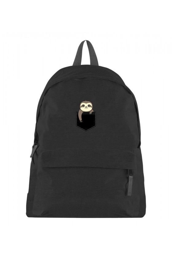 Plecak z nadrukiem Słodkiego leniwca w kieszoce