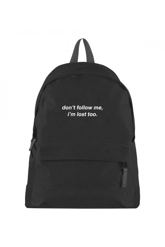 Plecak z napisem Don't follow me