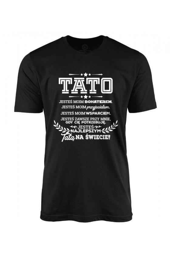 Koszulka męska Z napisem Tato jesteś moim bohaterem
