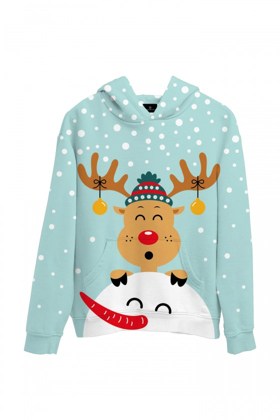 Świąteczna bluza z kapturem renifer i bałwanek