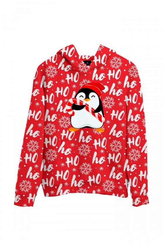 Świąteczna bluza z kapturem HOHOHO z pingwinem