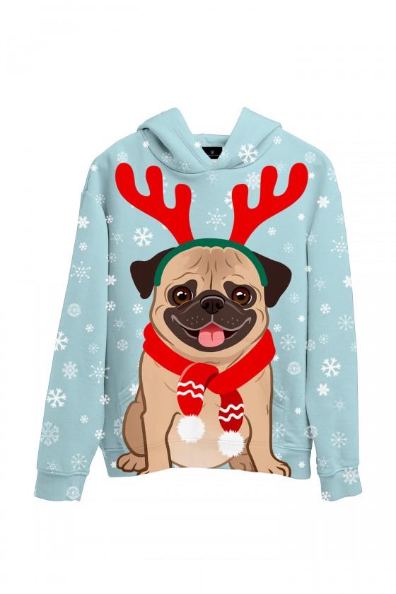 Świąteczna bluza z kapturem z mopsem w szaliku