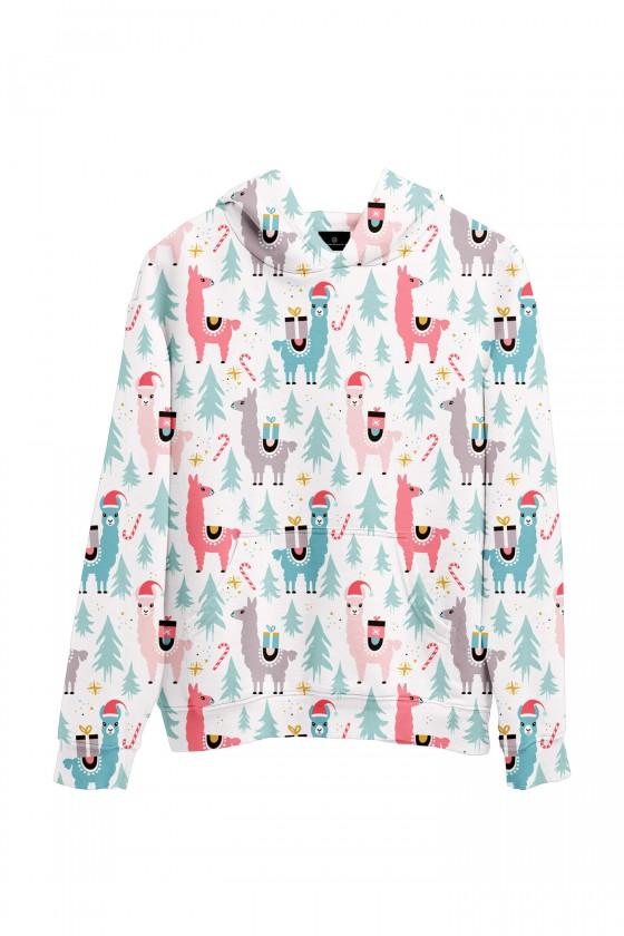 Świąteczna bluza z kapturem w zimowe lamy