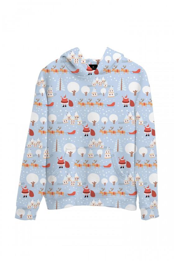Świąteczna bluza z kapturem Mikołaj roznoszący prezenty