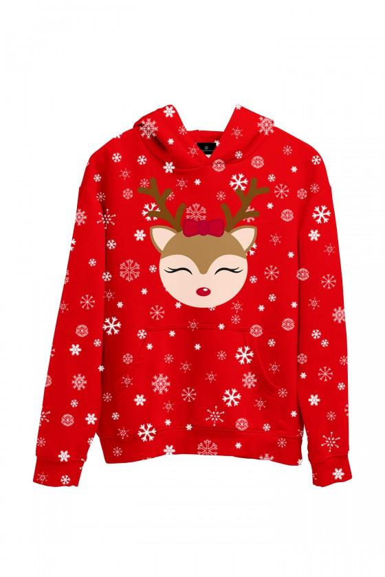 Świąteczna bluza z kapturem Reniferek (dla niej) czerwona