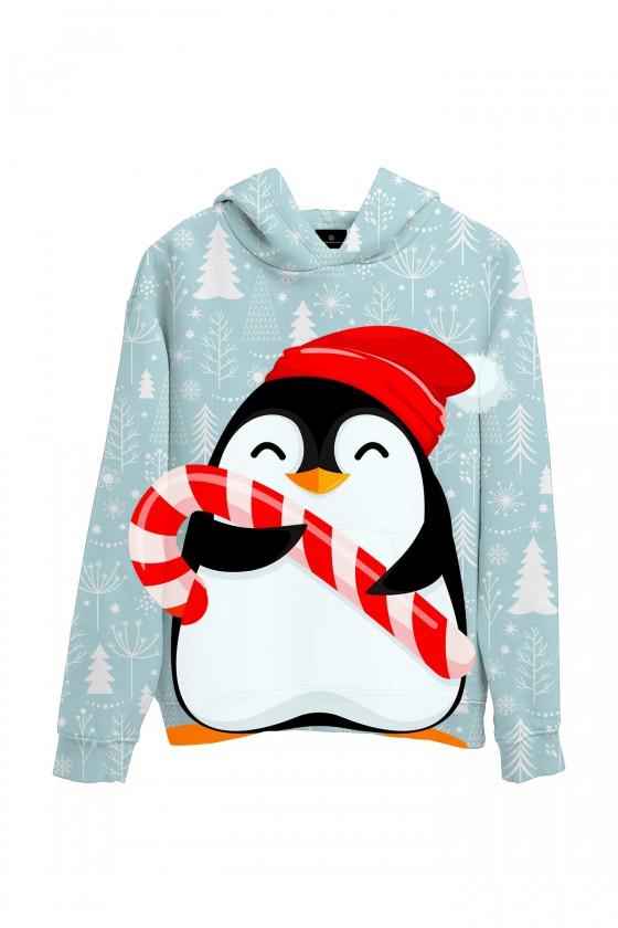 Świąteczna bluza z kapturem Pingwin mikołajek