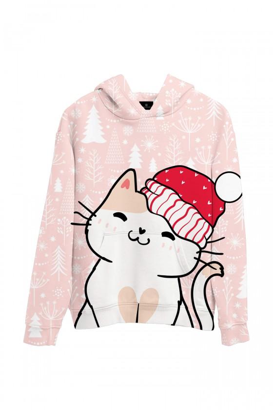 Świąteczna bluza z kapturem Kotek mikołajek