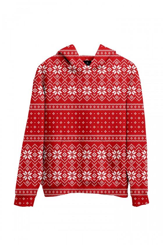 Świąteczna bluza z kapturem czerwony sweter świąteczny