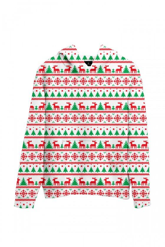 Świąteczna bluza z kapturem sweter świąteczny we wzorki