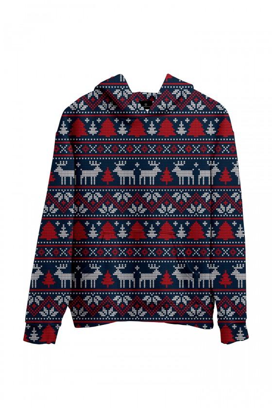 Świąteczna bluza z kapturem sweter świąteczny ciemnoniebieski