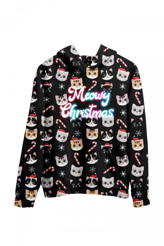 Świąteczna bluza z kapturem w kotki Meowy Christmas