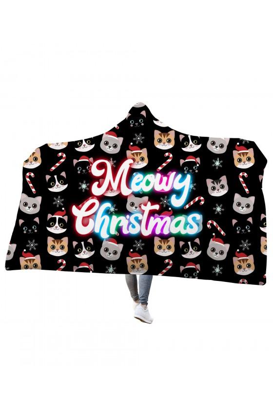 Koc z kapturem Meowy Christmas
