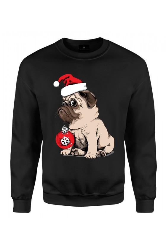 Bluza klasyczna Uroczy Mops w czapce Mikołaja
