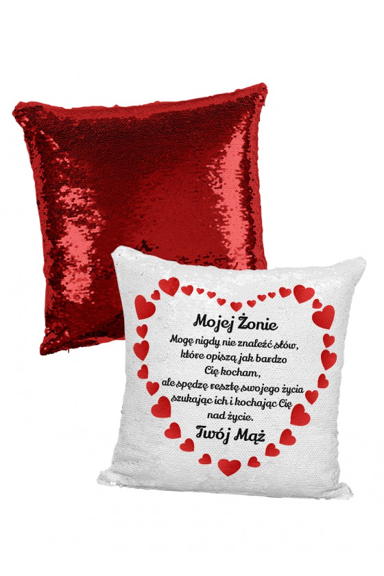 Poduszka cekinowa na prezent dla żony - Mogę nigdy nie znaleźć słów
