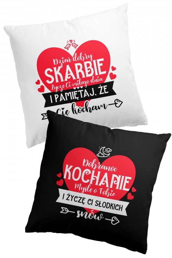 Poduszka Premium dwustronna na walentynki - na dzień dobry i na dobranoc