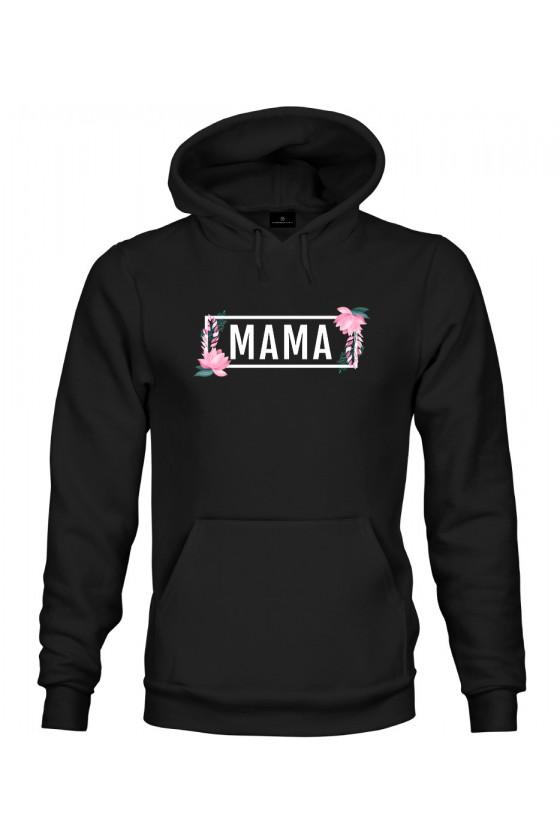 Bluza z kapturem MAMA - modny print kwiaty