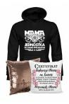 Zestaw prezentowy dla Mamy - Bluza Mama Jednostka i Poduszka Cekinowa Certyfikat